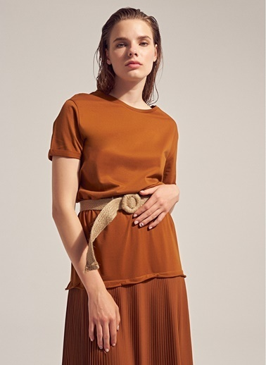 Monamoda Şifon Piliseli Elbise Taba